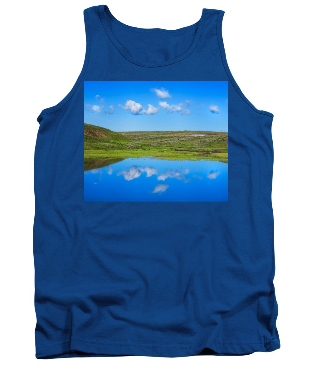 Hayden Valley Tank Top featuring the photograph Hayden Valley Cloud Reflection Yellowstone National Park by Martin Belan