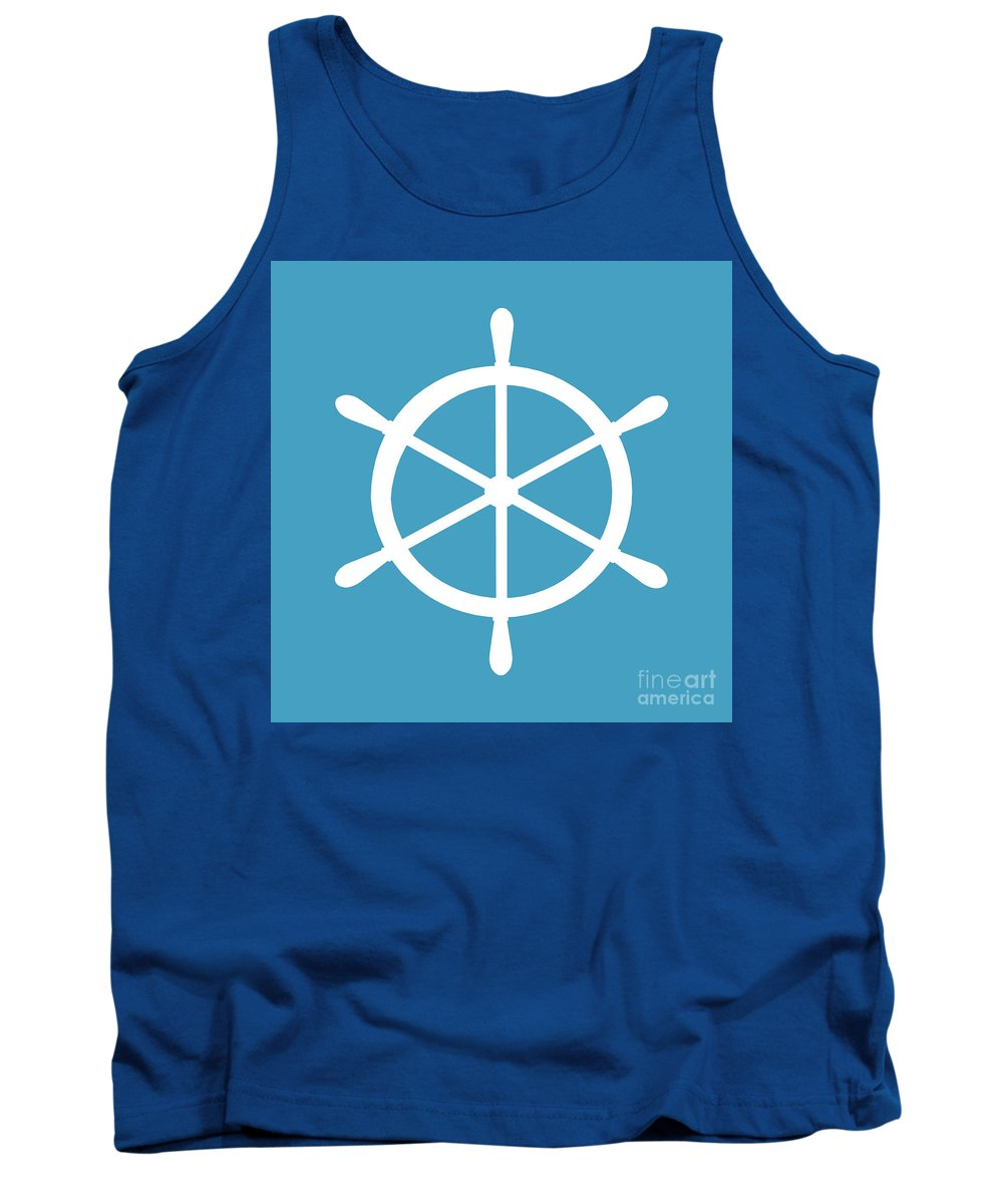 Graphic Art Tank Top featuring the digital art Helm In White And Turquoise Blue by Jackie Farnsworth