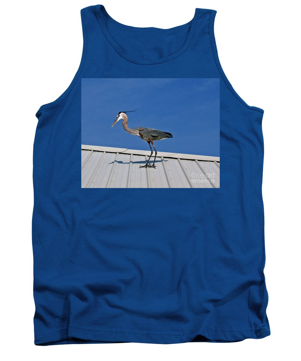 Blue Heron Tank Top featuring the photograph Heron On Rooftop by Marian Bell