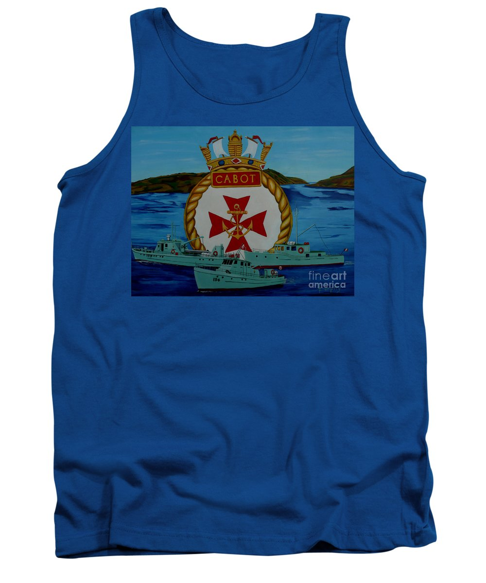 Hmcs Tank Top featuring the painting HMCS CABOT unit tenders by Anthony Dunphy