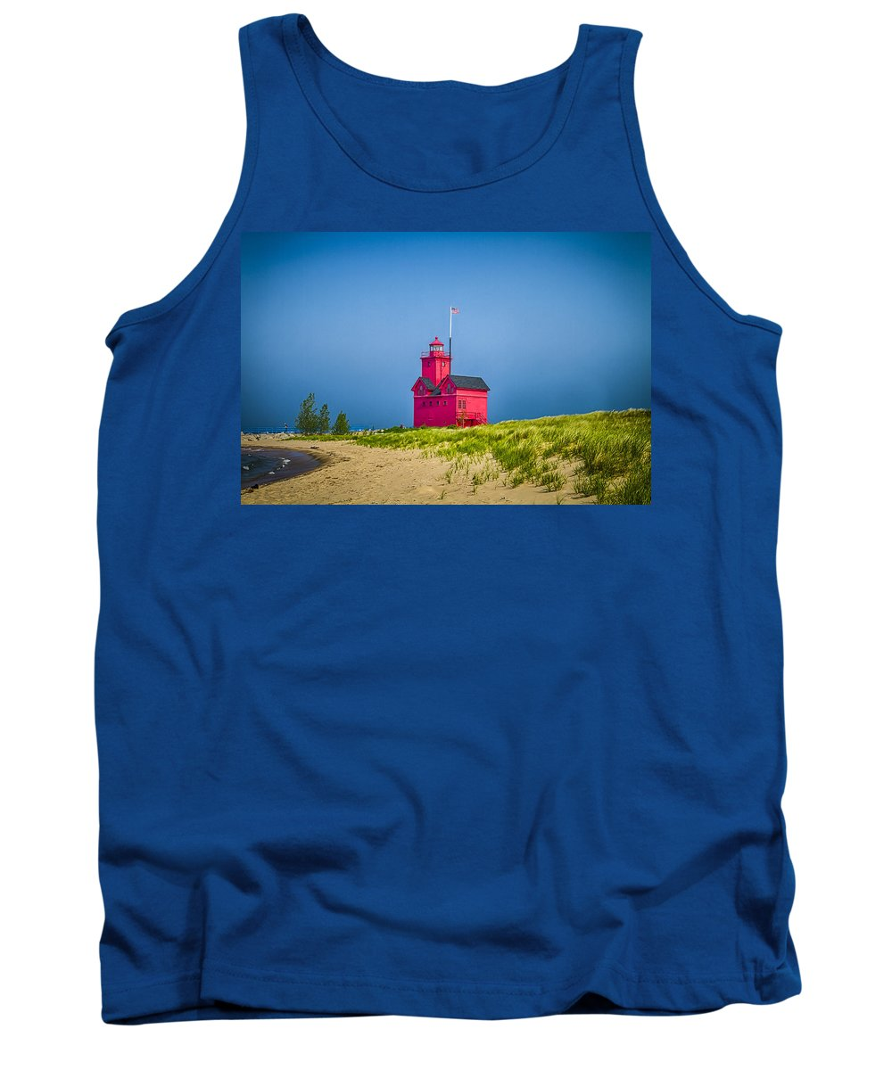 Holland Tank Top featuring the photograph Holland Harbor Lighthouse Mi by Jack R Perry