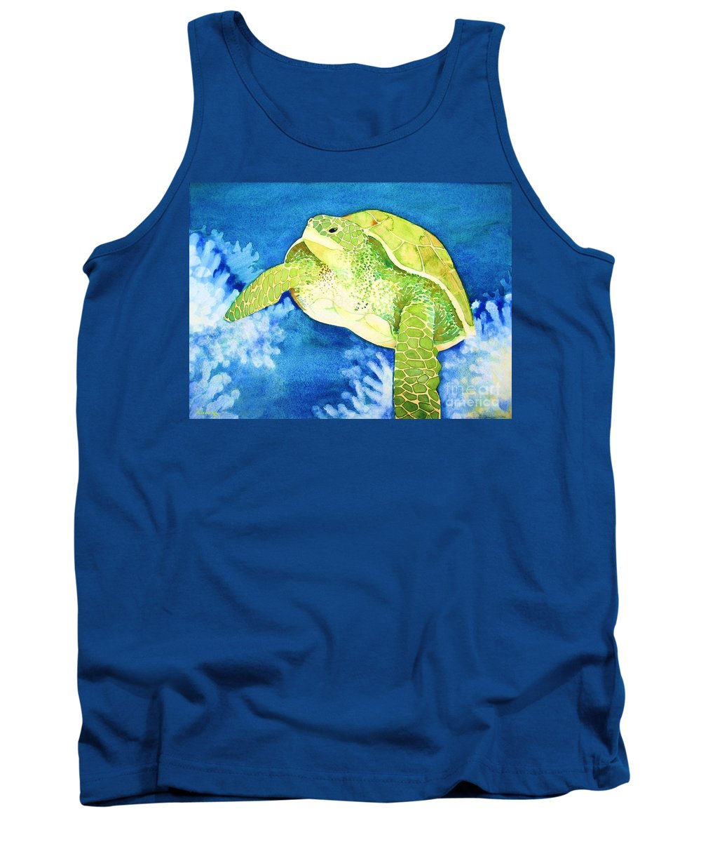 Nature Tank Top featuring the painting Honu by Frances Ku