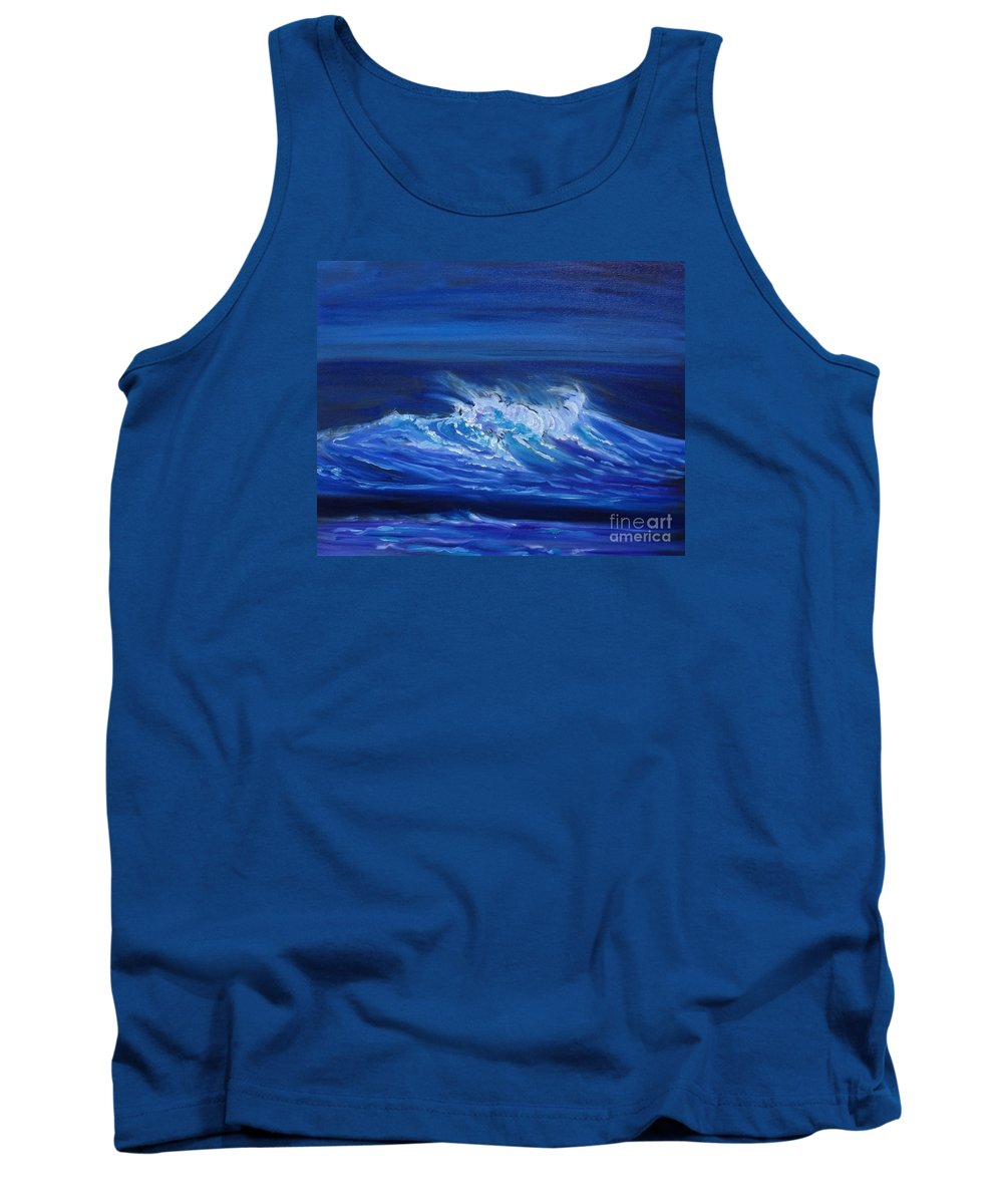 Huge North Shore Oahu Wave Print Tank Top featuring the painting Wave V Jenny Lee Discount by Jenny Lee