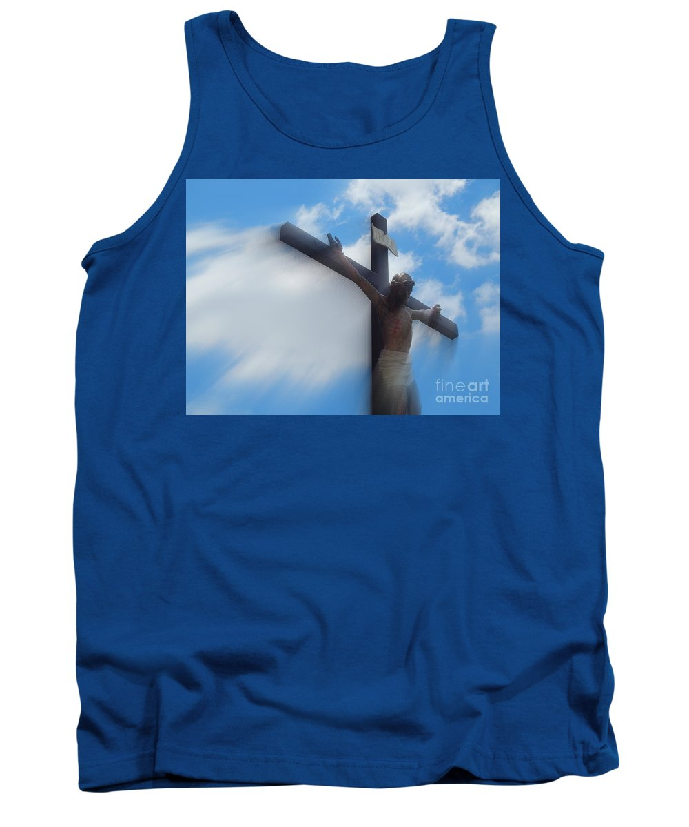 Nola Tank Top featuring the photograph Iesus Nazarenvs Rex Ivdaeorvm Accession At St. Joseph Church Garden In New Orleans Louisiana by Michael Hoard