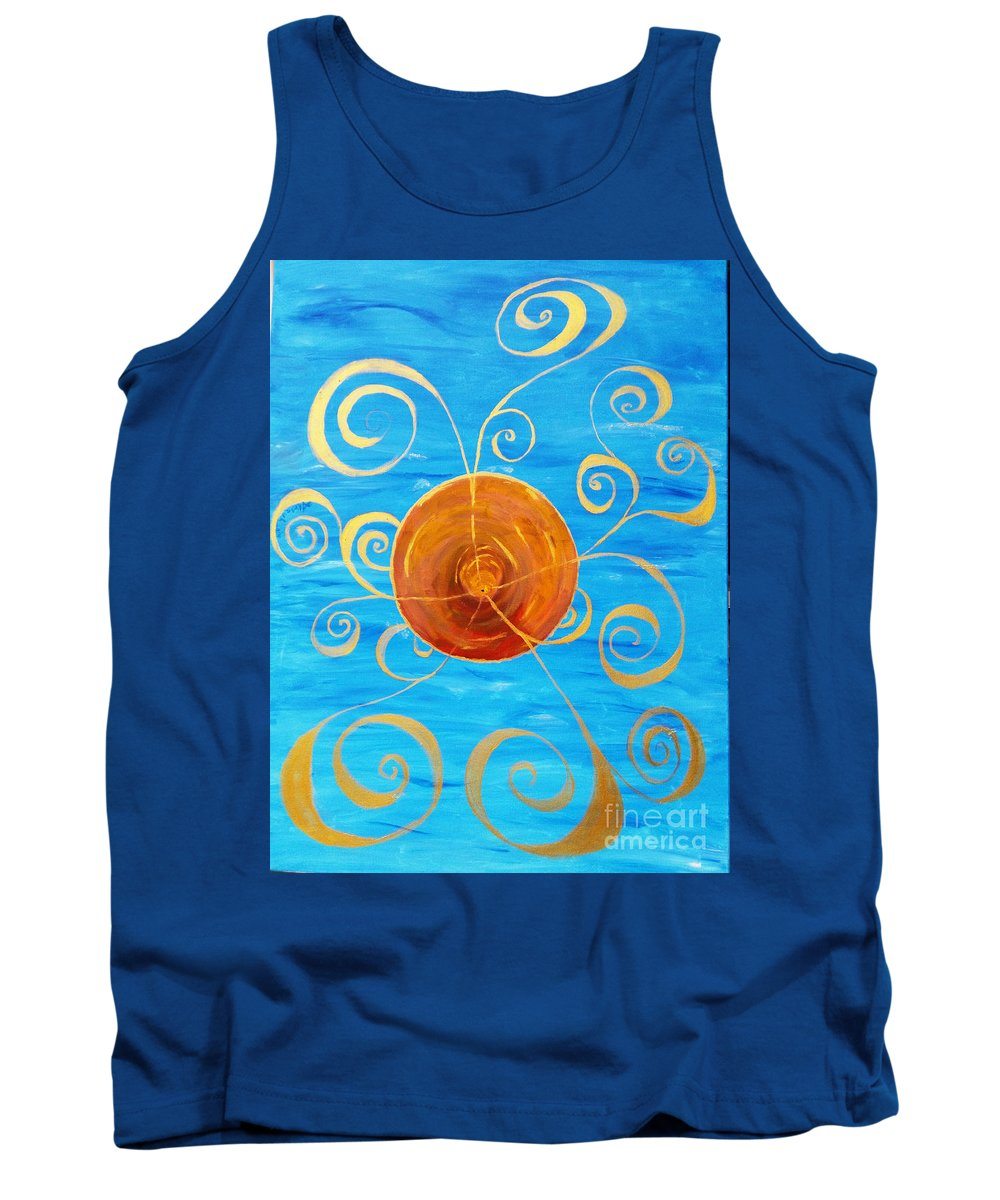 Abstract Tank Top featuring the painting In The Beginning by Aurorah Kelevh