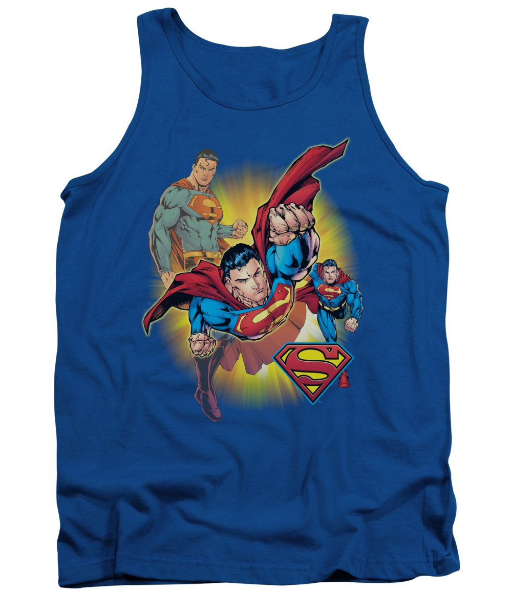 Justice League Of America Tank Top featuring the digital art Jla - Superman Collage by Brand A