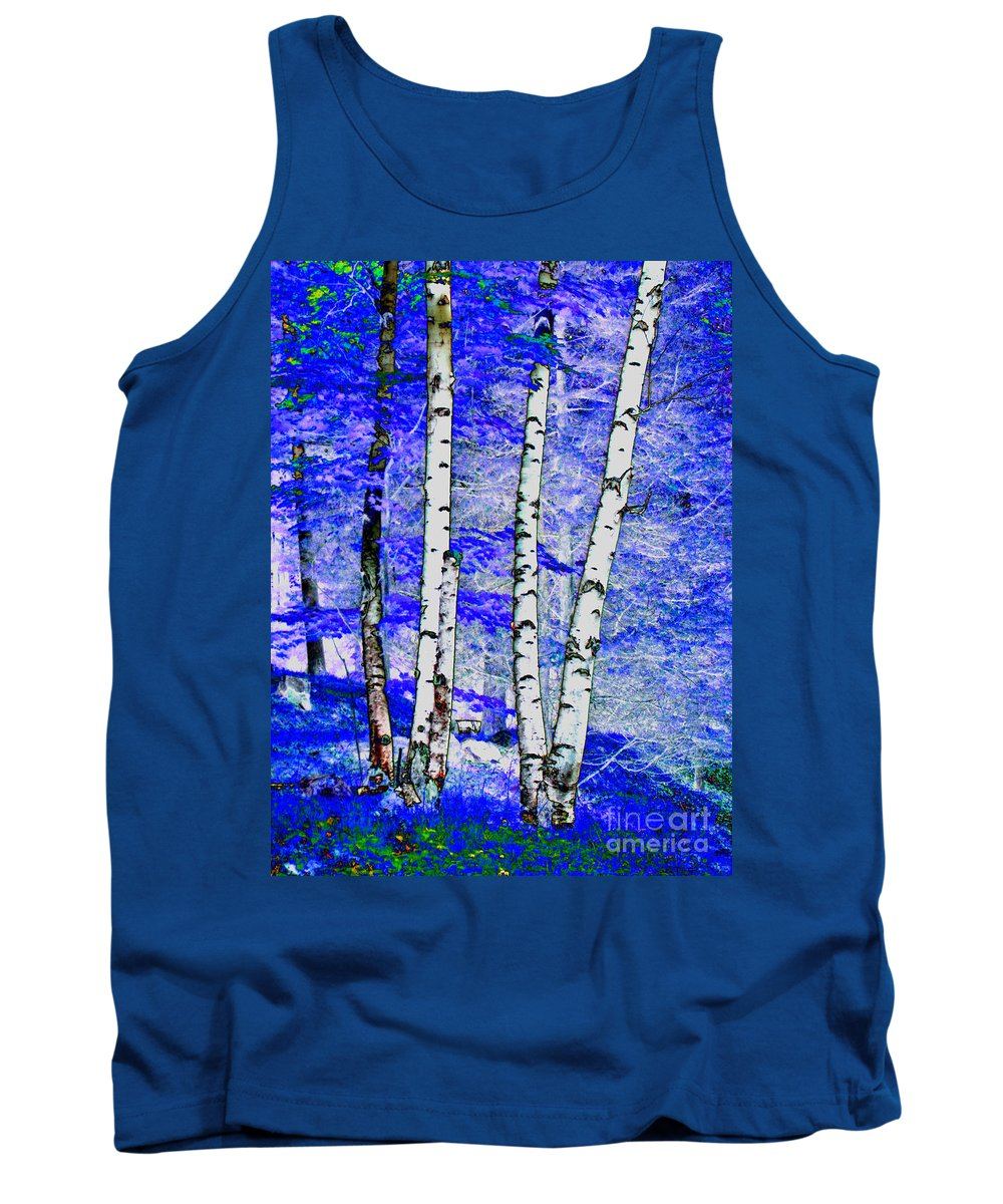 Birch Trees Tank Top featuring the digital art Land Of The Silver Birch by Kim Peto