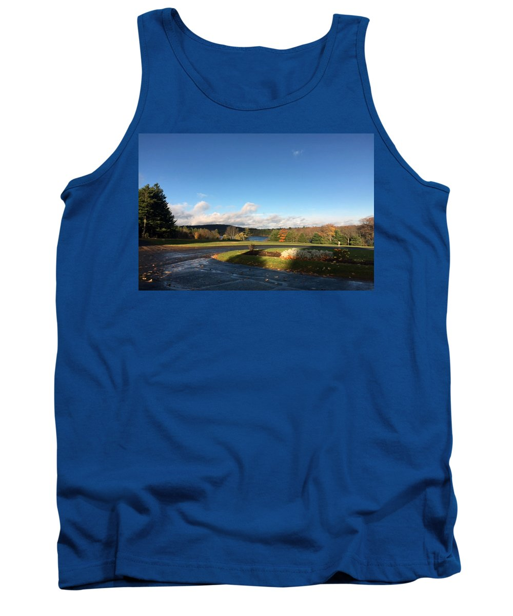 Landscape Tank Top featuring the mixed media Landscape Skyview Early Morning Poconos Pa Usa America Travel Tour Vacation Peaceful by Navin Joshi
