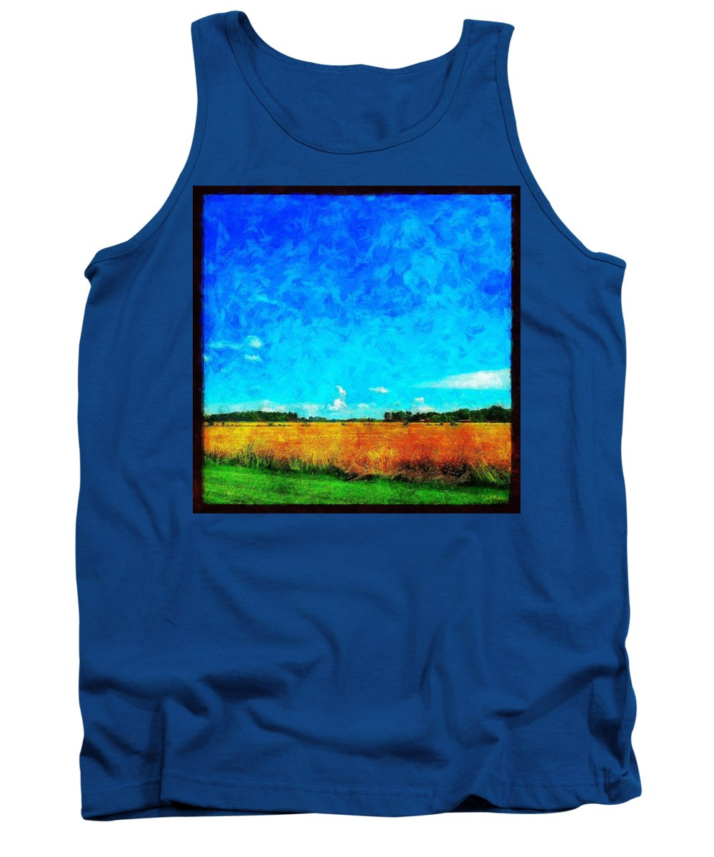 Field Tank Top featuring the painting Lazy Clouds in the Summer Sun by Sandy MacGowan