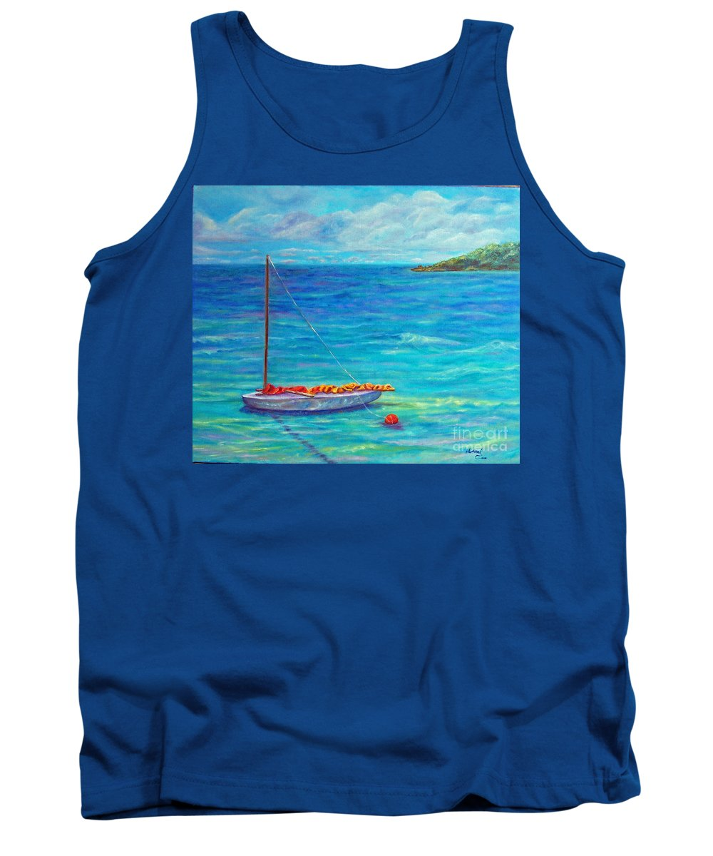 Sail Boat Tank Top featuring the painting Let's Go Sailing by Alina Martinez-beatriz