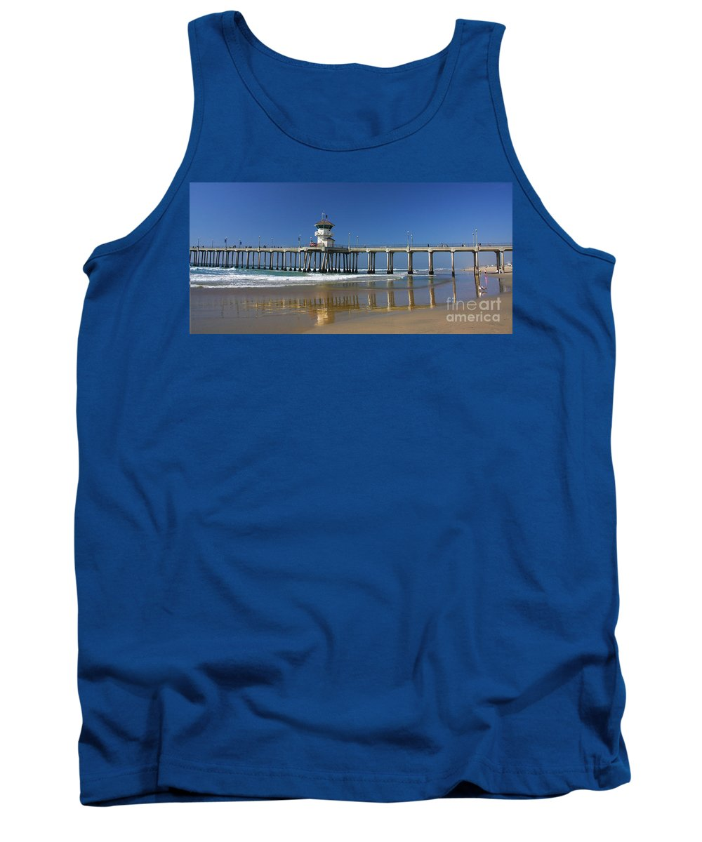 Huntington Beach Pier Prints Tank Top featuring the photograph Life Guard Station Reflection On Ocean Sand At Huntington Beach City Pier Fine Art Photography Print by Jerry Cowart