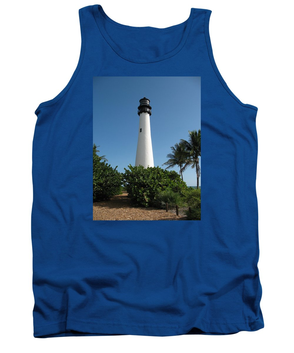Light Tank Top featuring the photograph Lighthouse On Key Biscayne by Christiane Schulze Art And Photography
