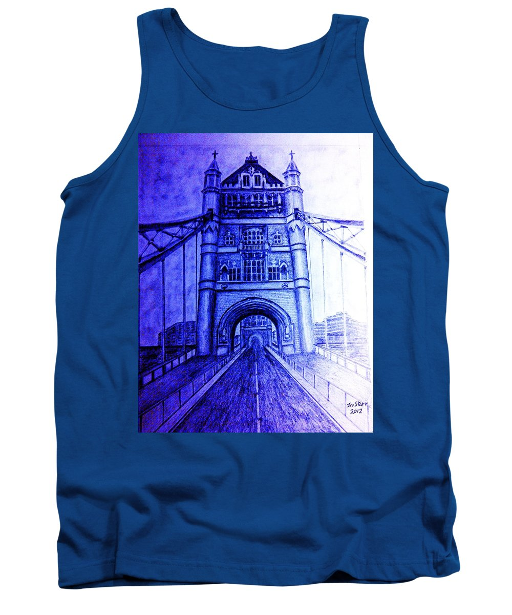 Blue London Tower Bridege Landmark England Tank Top featuring the drawing London Tower Bridge Tinted Blue by Irving Starr