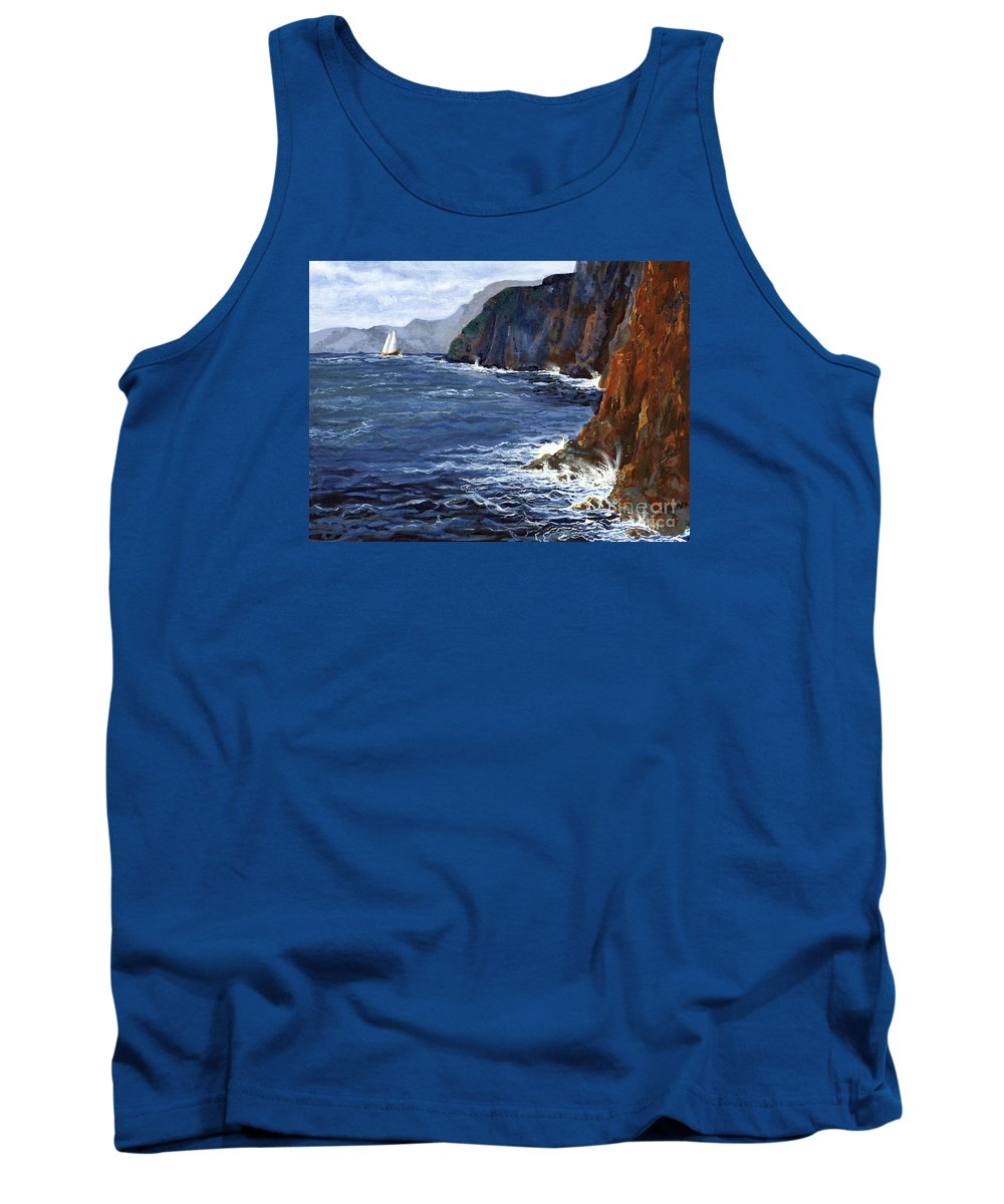 Landscape Tank Top featuring the painting Lonely Schooner by Mary Palmer