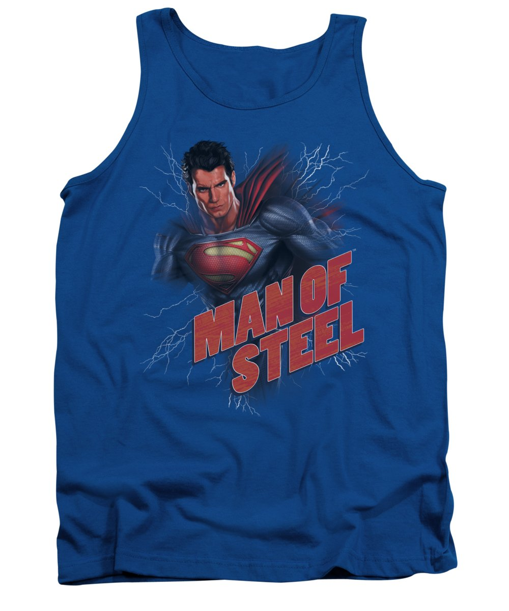 Man Of Steel Tank Top featuring the digital art Man Of Steel - Lightning Power by Brand A