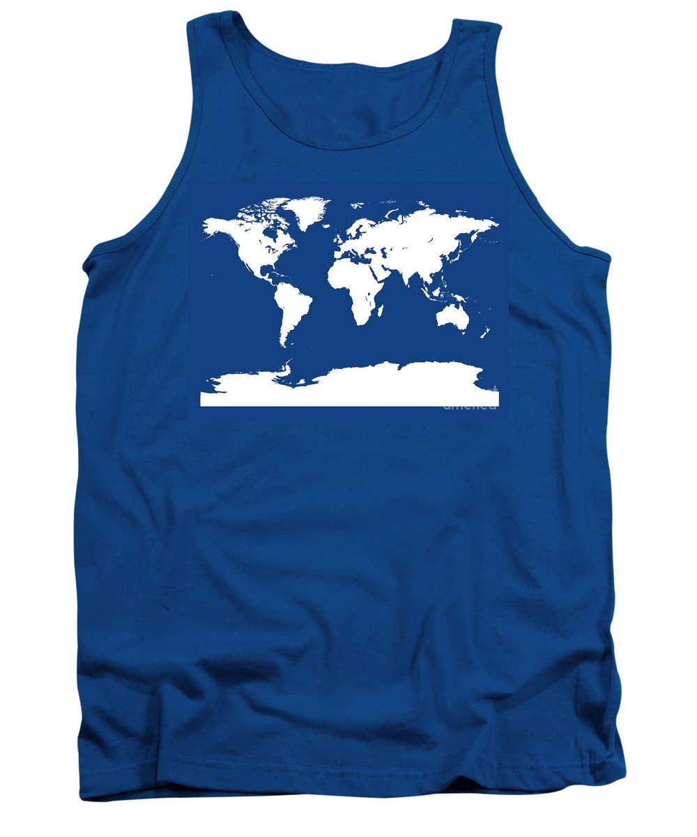 World Tank Top featuring the digital art Map In Blue And White by Jackie Farnsworth