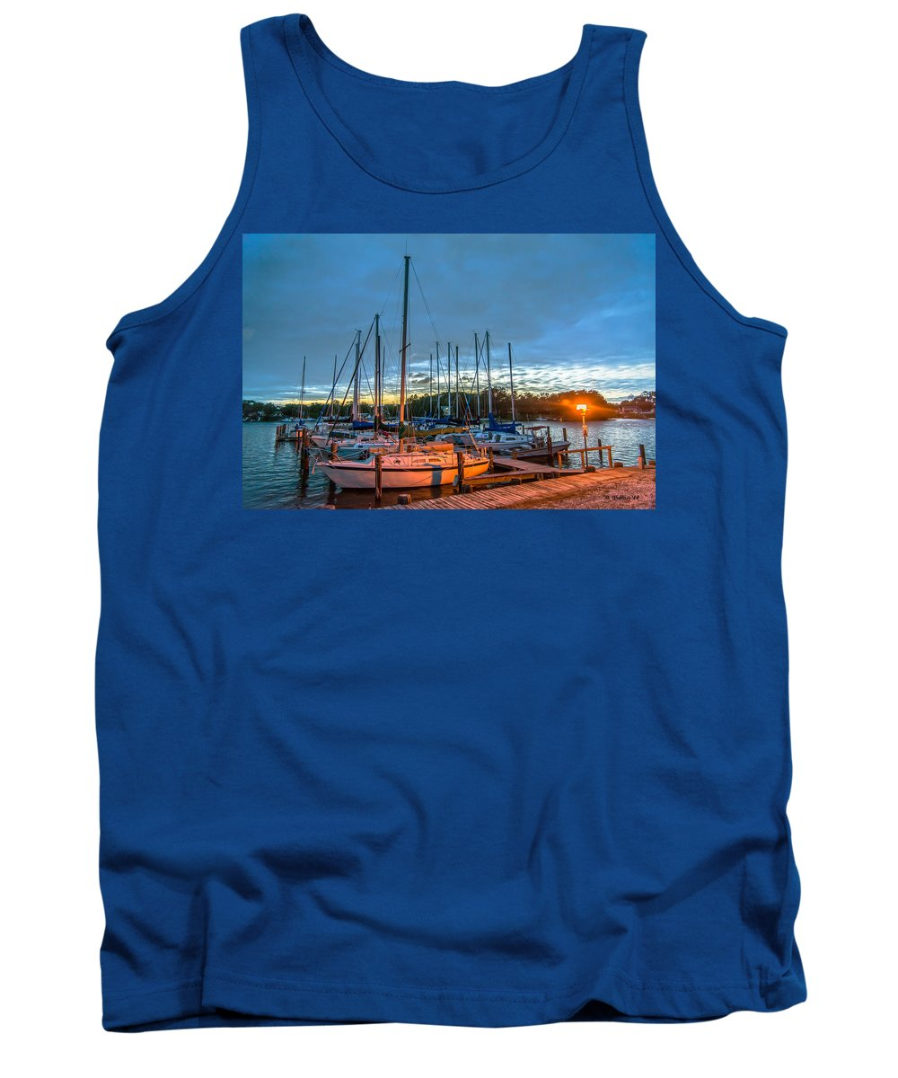2d Tank Top featuring the photograph Marina Light by Brian Wallace