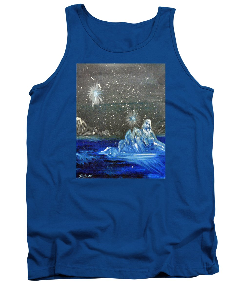Moon Tank Top featuring the painting Moon With A Blue Dress by Suzanne Surber
