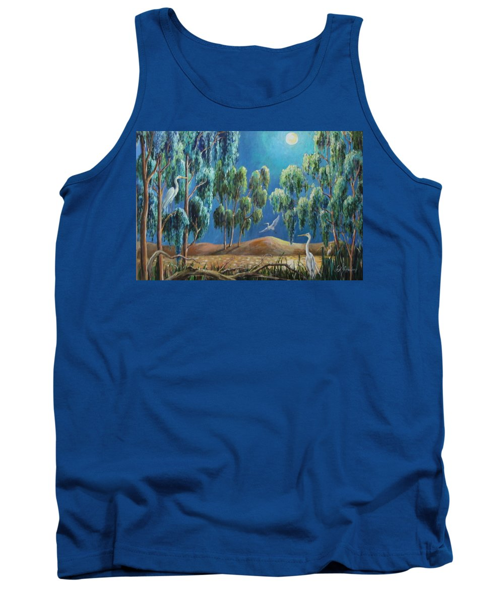 Egrets Tank Top featuring the painting Moonlit Perch by Jan Mecklenburg