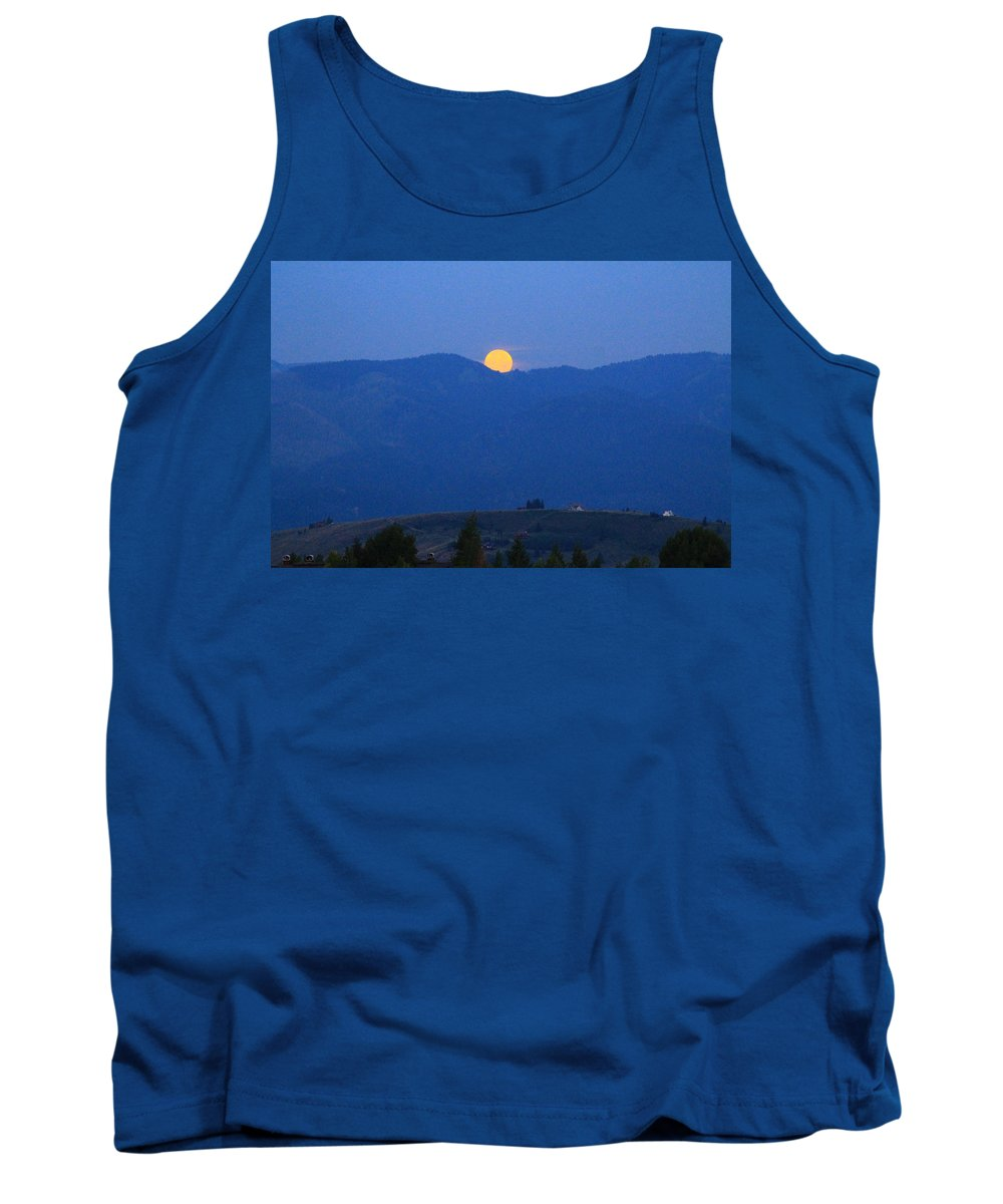 Super Moon Tank Top featuring the photograph Moonset by Catie Canetti