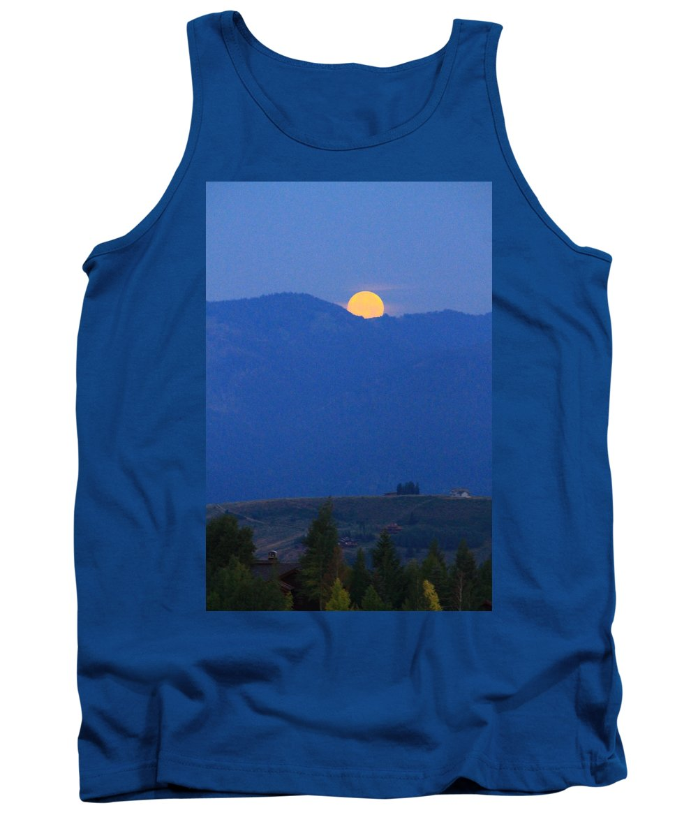 Super Moon Setting Tank Top featuring the photograph Moonset In The Morning by Catie Canetti