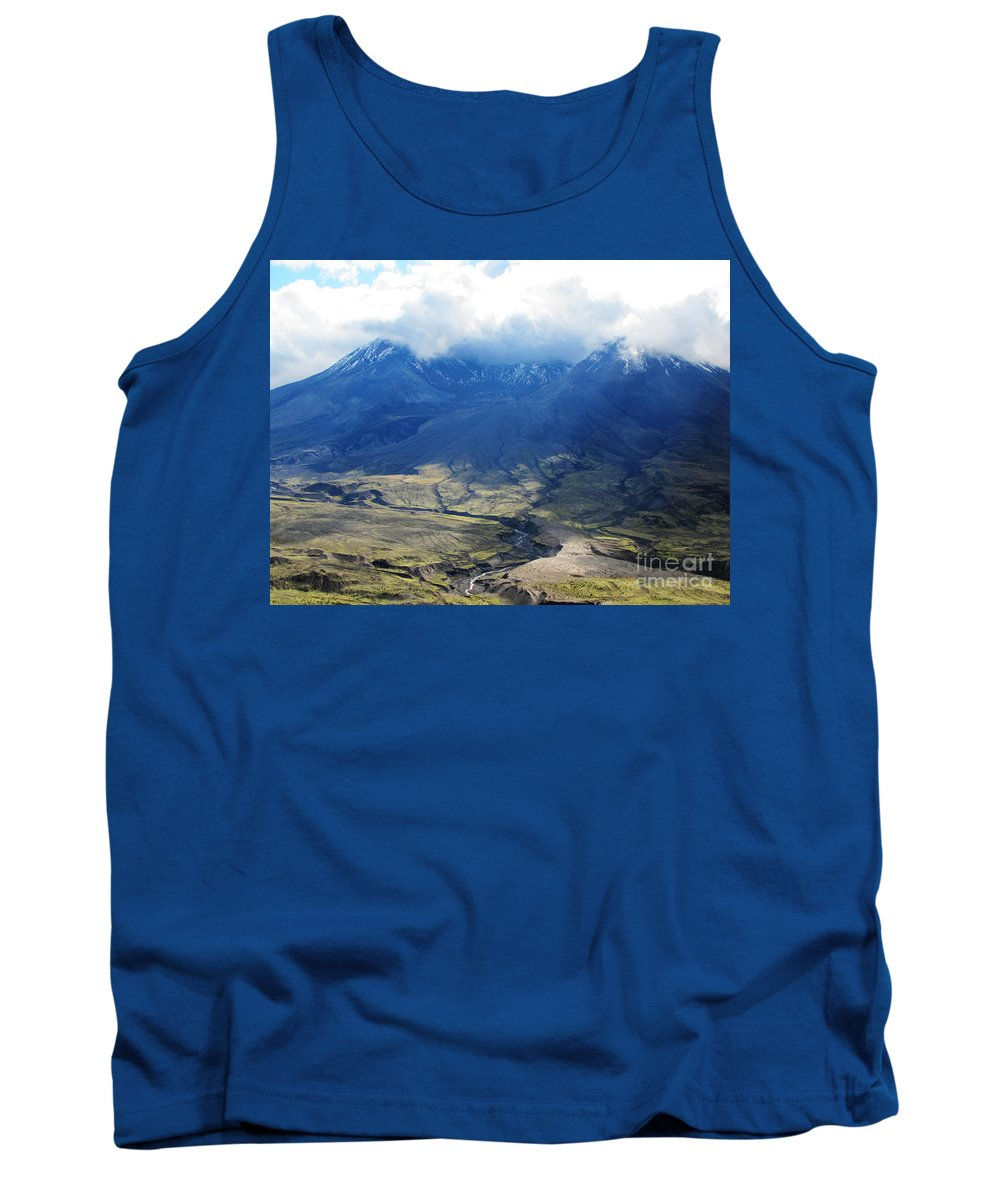 Landscape Tank Top featuring the photograph Mount St. Helen's Cloud Kissed by Ron Tackett