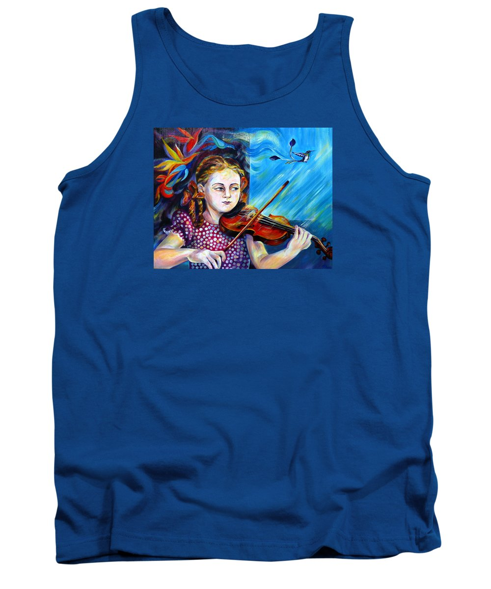 Music Tank Top featuring the painting Music Lessons by Anna Duyunova