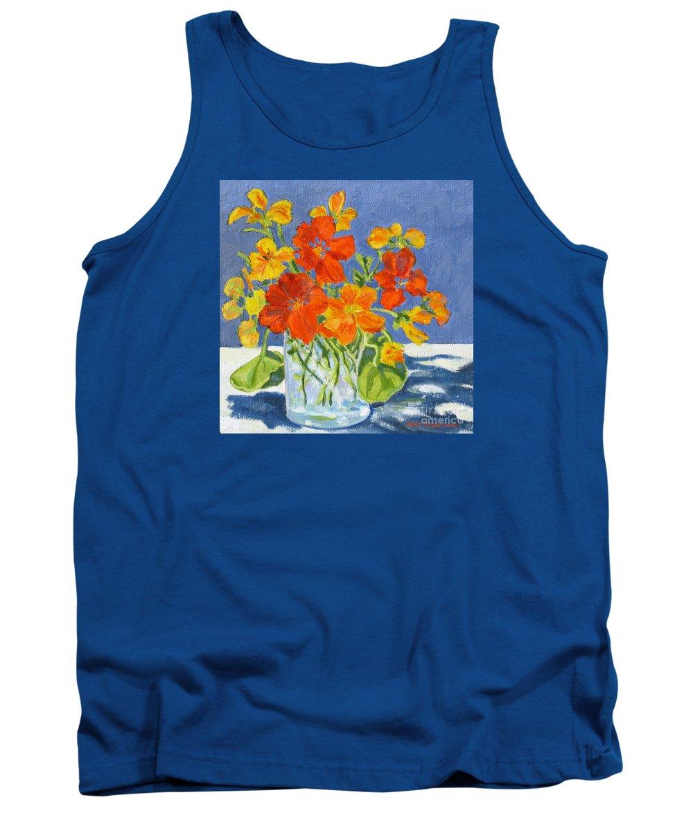 Flowers Tank Top featuring the painting Nasturtiums by Rhett Regina Owings