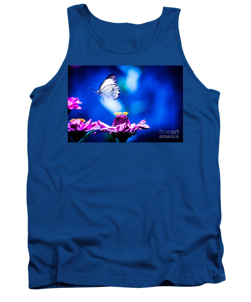 Butterfly Tank Top featuring the photograph Neon Butterfly by Carolina Mendez