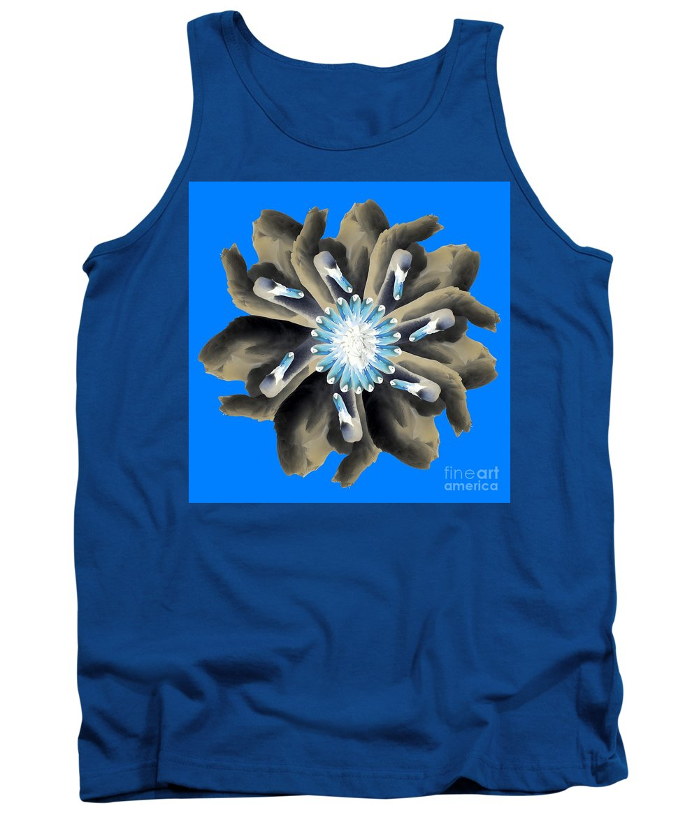 Swans Tank Top featuring the photograph New Photographic Art Print For Sale Pop Art Swan Flower On Blue by Toula Mavridou-Messer