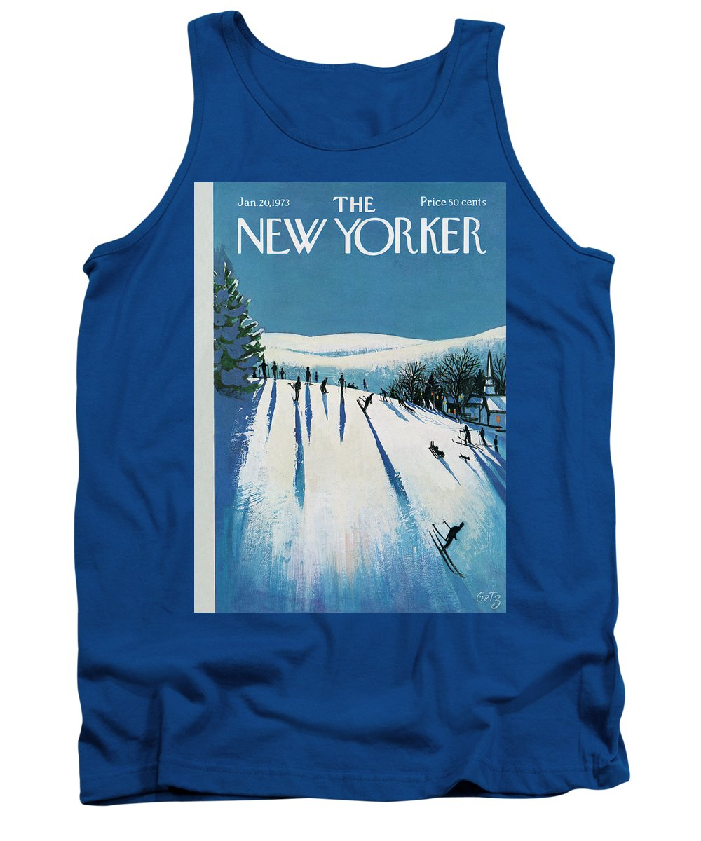 Snow Tank Top featuring the painting New Yorker January 20th, 1973 by Arthur Getz