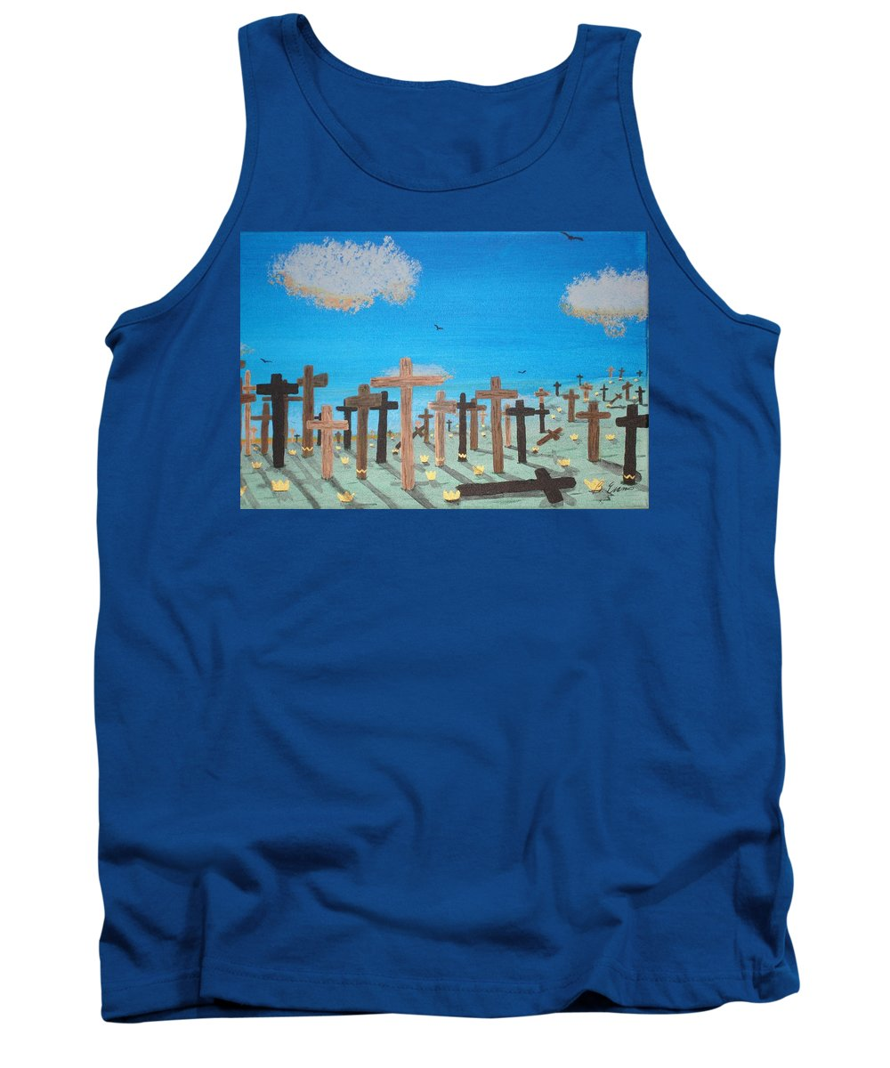 Crosses Tank Top featuring the painting No Cross No Crown 2 by Barbara Evans