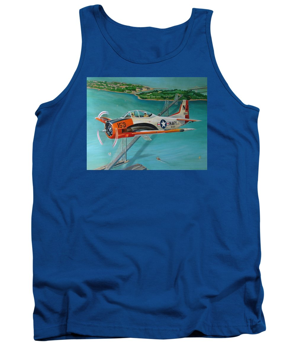 Aviation Tank Top featuring the painting North American T-28 Trainer by Stuart Swartz