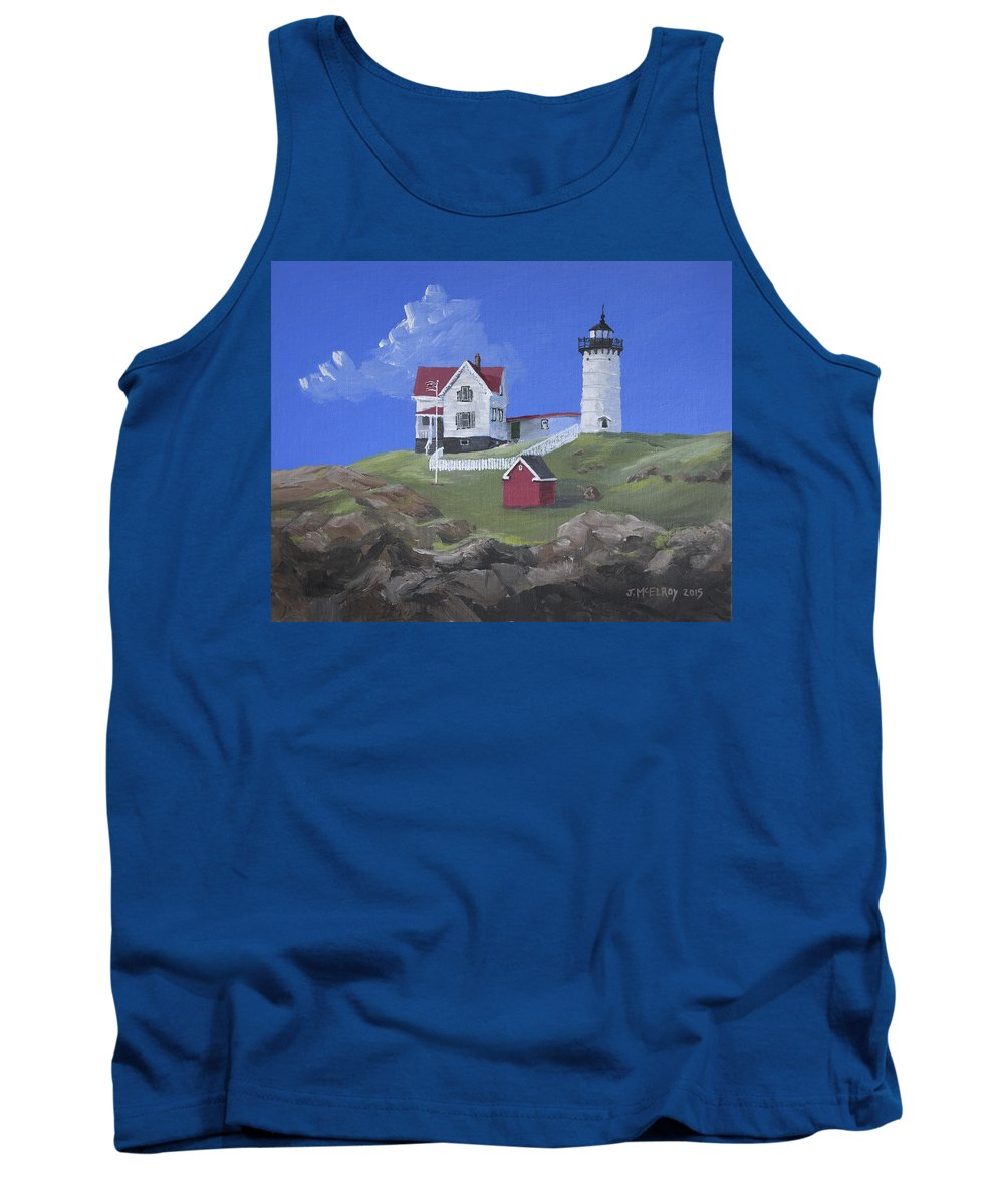 Nubble Tank Top featuring the painting Nubble Lighthouse by Jerry McElroy