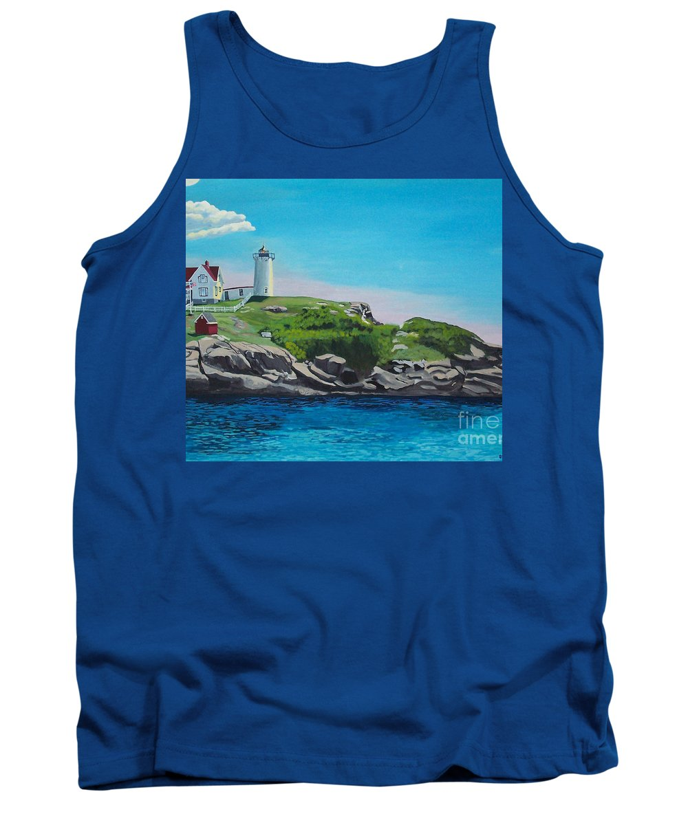 Nubble Lighthouse Tank Top featuring the painting Nubble Lighthouse Sunrise by Stella Sherman