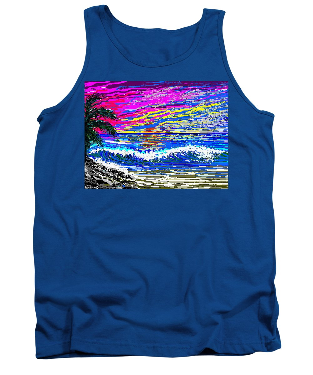 Ocean Sunset Quickly Sketched In 3 Hours. Tank Top featuring the digital art Ocean Sunset by Larry Lehman