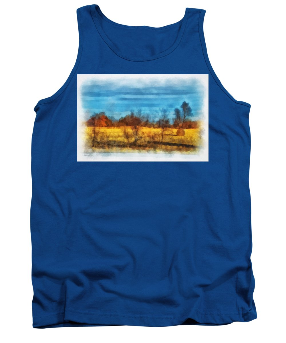 Hay Tank Top featuring the photograph Oklahoma Hay Rolls Photo Art 03 by Thomas Woolworth