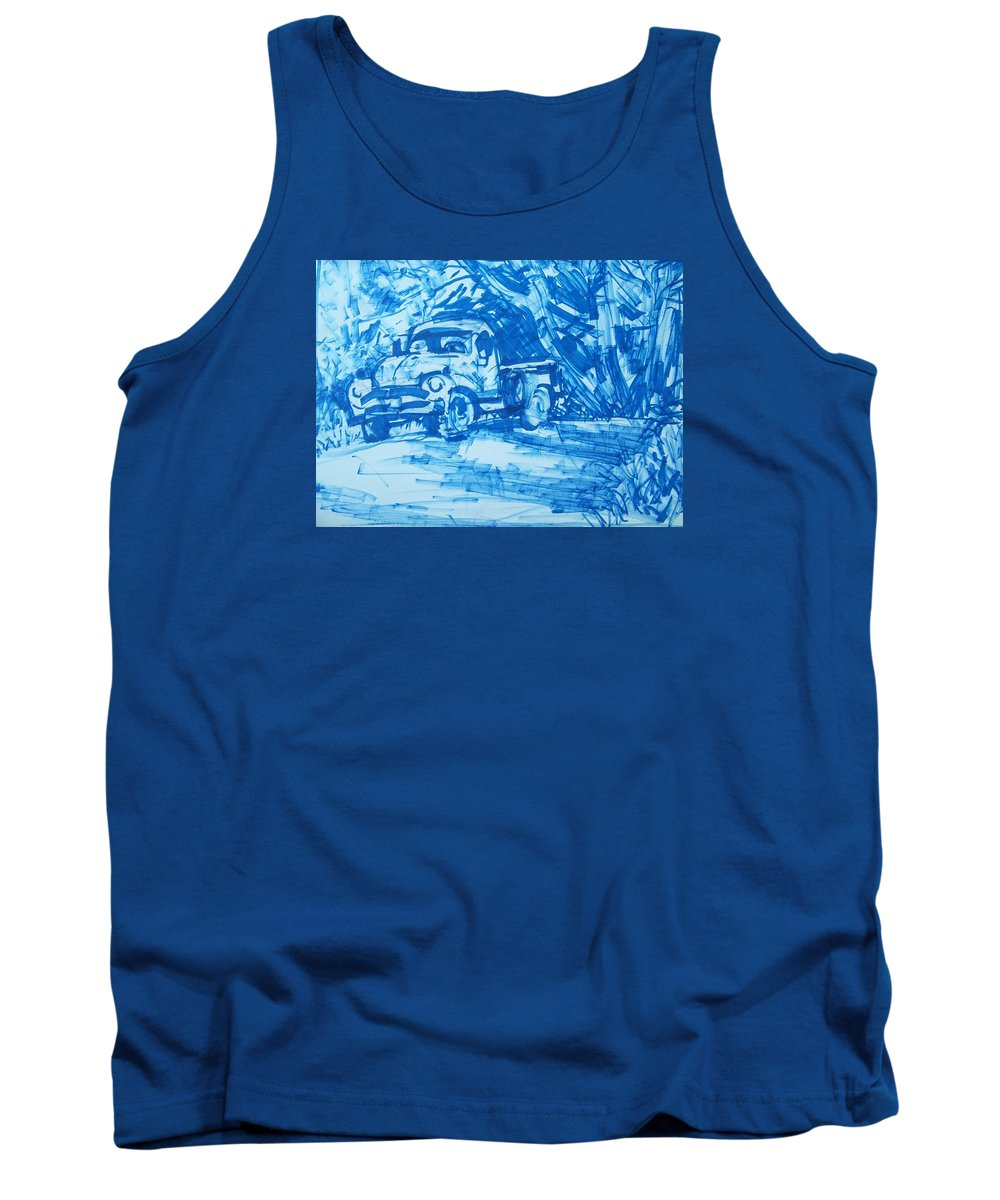 Old Truck Tank Top featuring the drawing Old Blue Truck by Geoffrey Haun