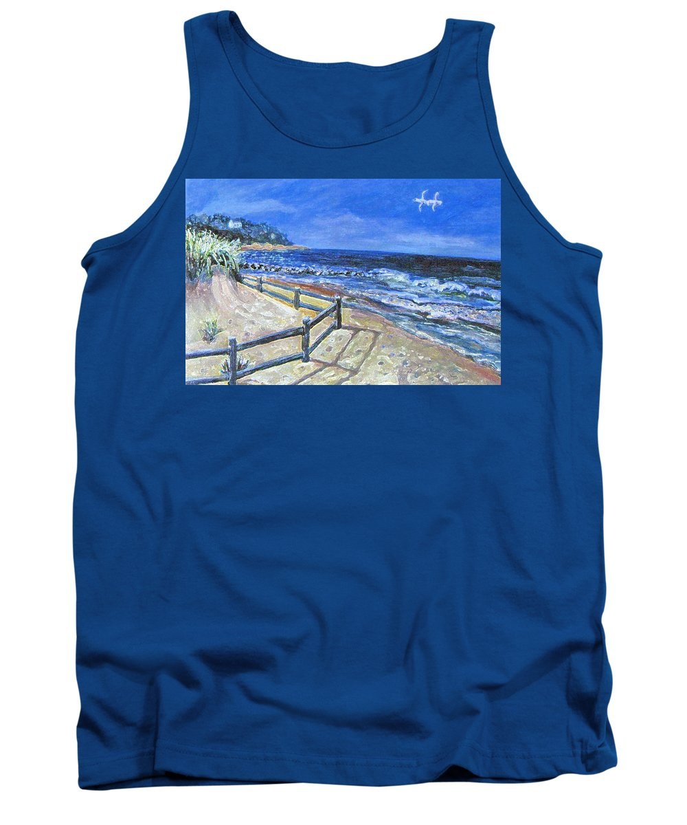 Seascape. Old Silver Beach Tank Top featuring the painting Old Silver Beach by Rita Brown