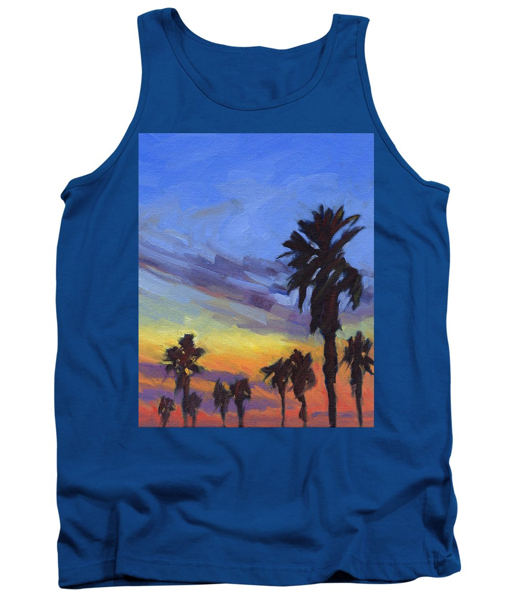 Sunset Tank Top featuring the painting Pacific Sunset 2 by Konnie Kim