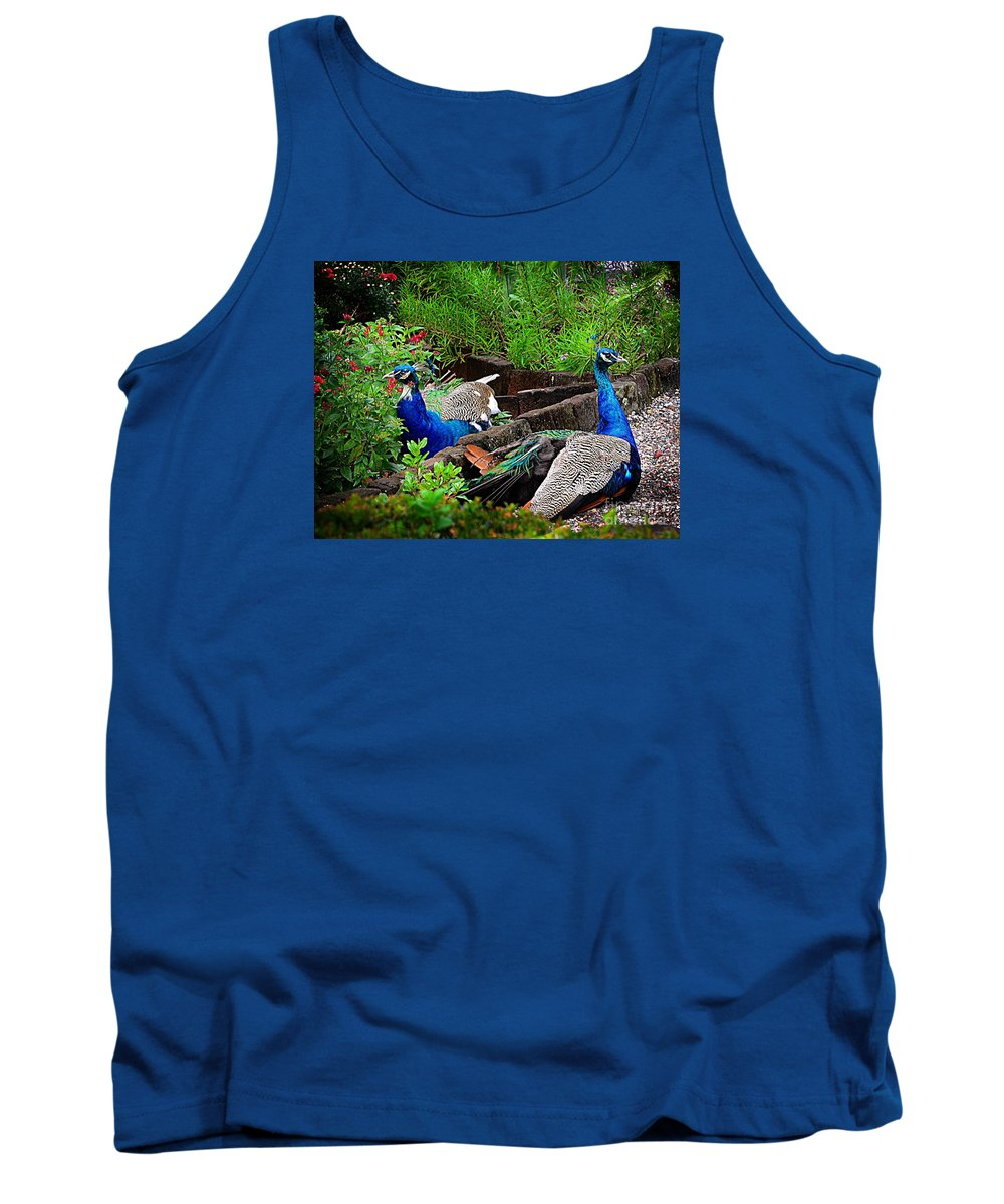 #peacocks #bird #peacock Tank Top featuring the photograph Peacocks In The Garden by Kathleen Struckle