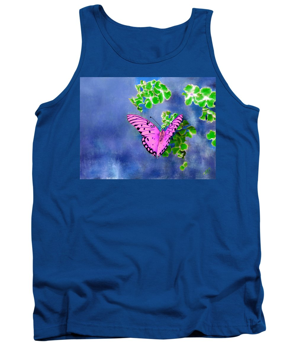 Green Tank Top featuring the painting Pink Butterfly by Bruce Nutting