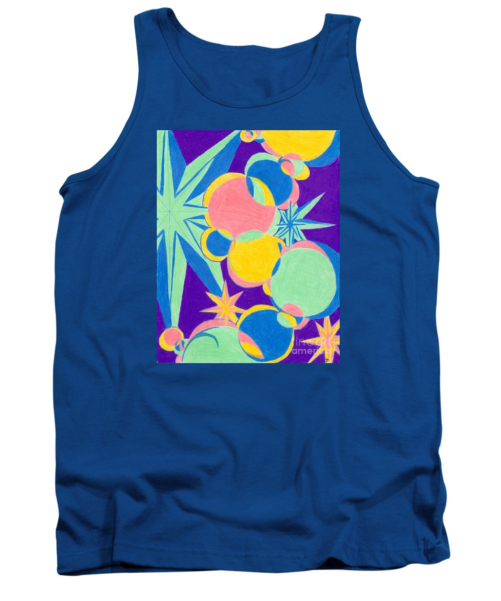 Color Tank Top featuring the drawing Planets And Stars by Kim Sy Ok