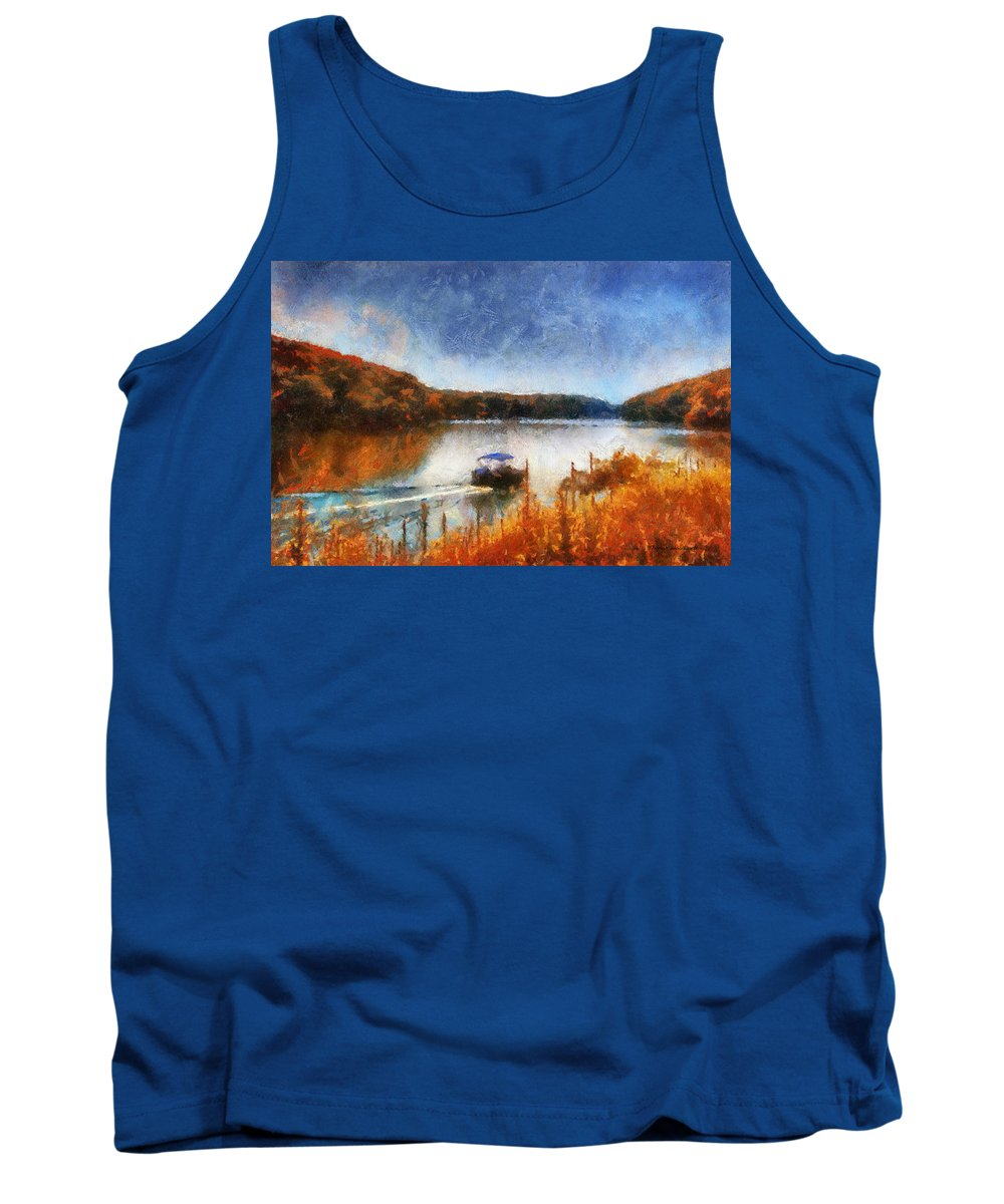Pontoon Tank Top featuring the photograph Pontoon Boat Photo Art 02 by Thomas Woolworth