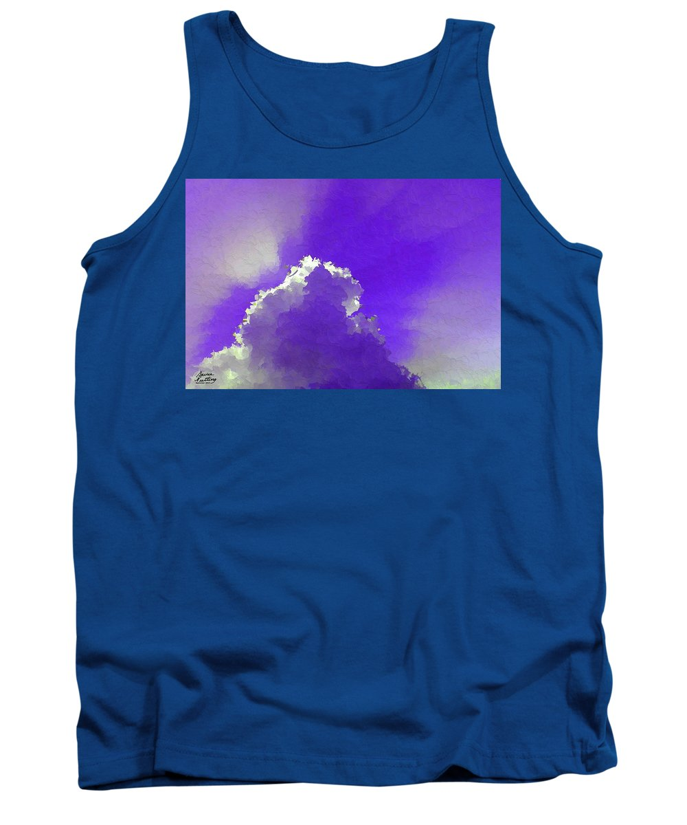Purple Tank Top featuring the painting Purple Sky With A Cloud by Bruce Nutting
