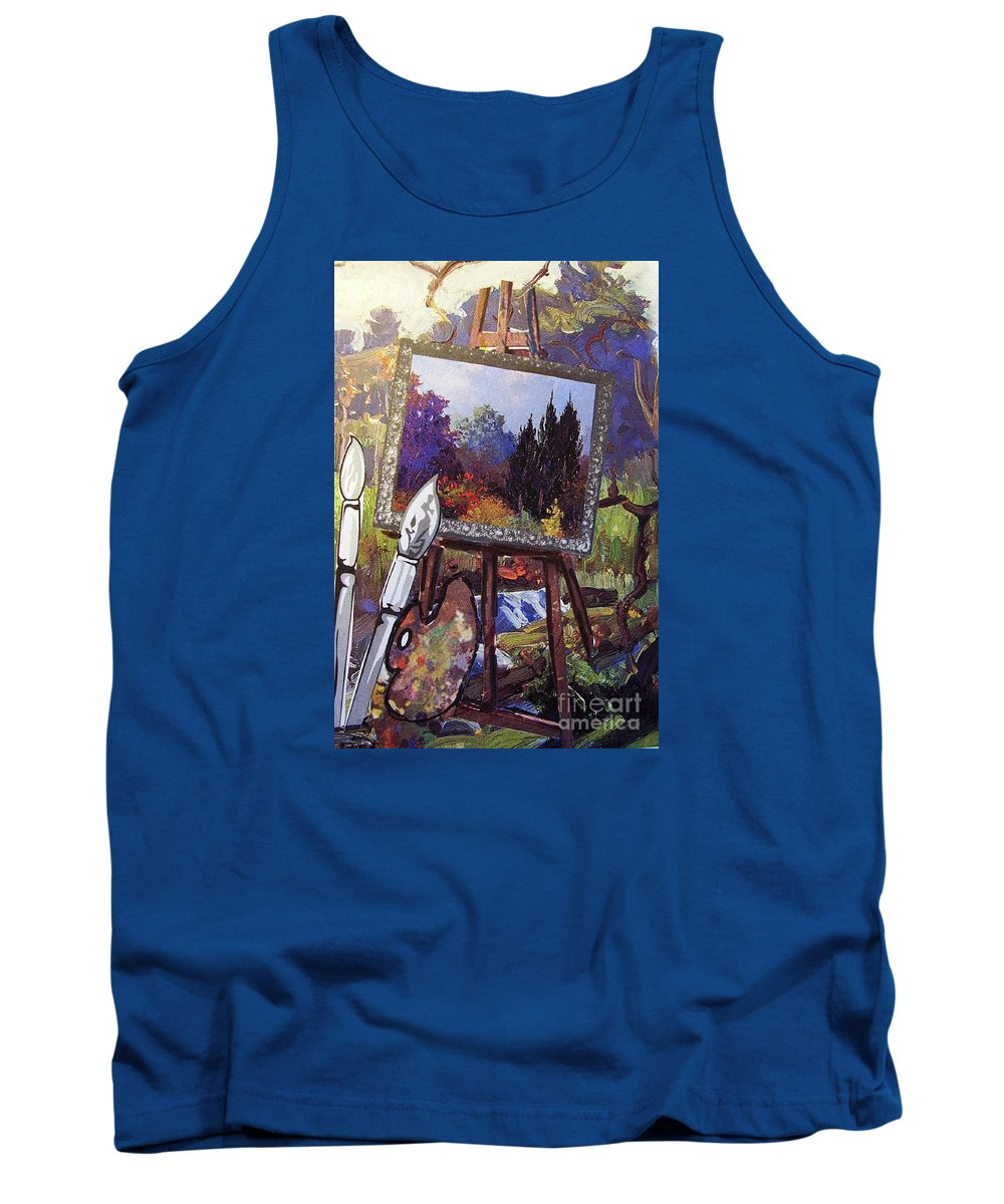 Easel Tank Top featuring the painting Put Color In Your Life by Eloise Schneider Mote