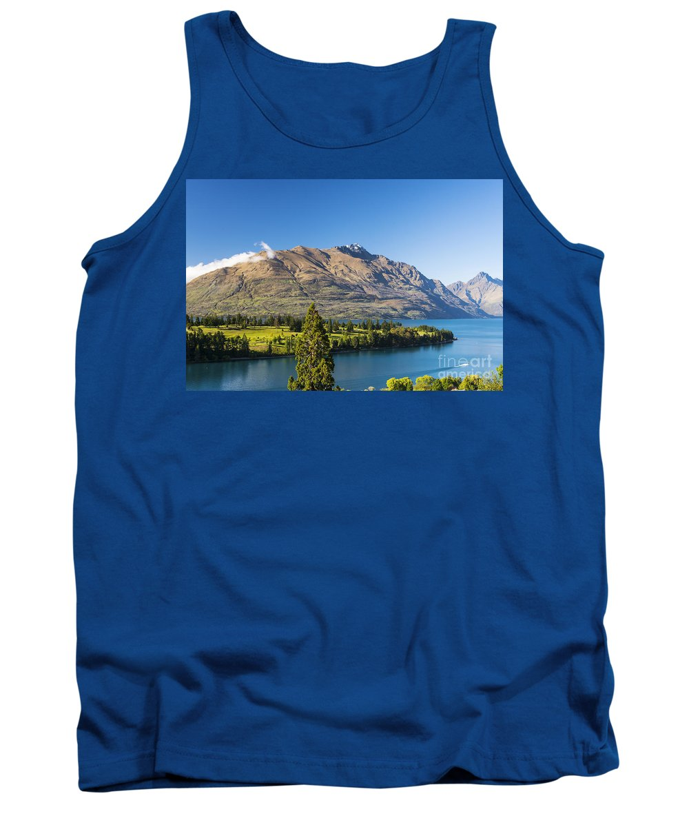 Queenstown New Zealand Lake Wakatipu Lakes Water Mountain Mountains Golf Club Course Courses Tree Trees Landscape Landscapes Waterscape Waterscapes Tank Top featuring the photograph Queenstown Golf Club And Lake Wakatipu by Bob Phillips