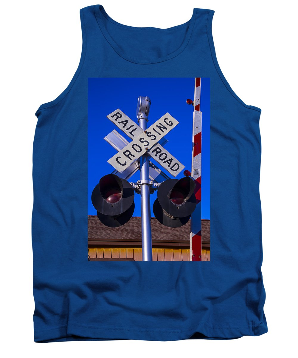 Railroad Tank Top featuring the photograph Railroad Crossing by Garry Gay