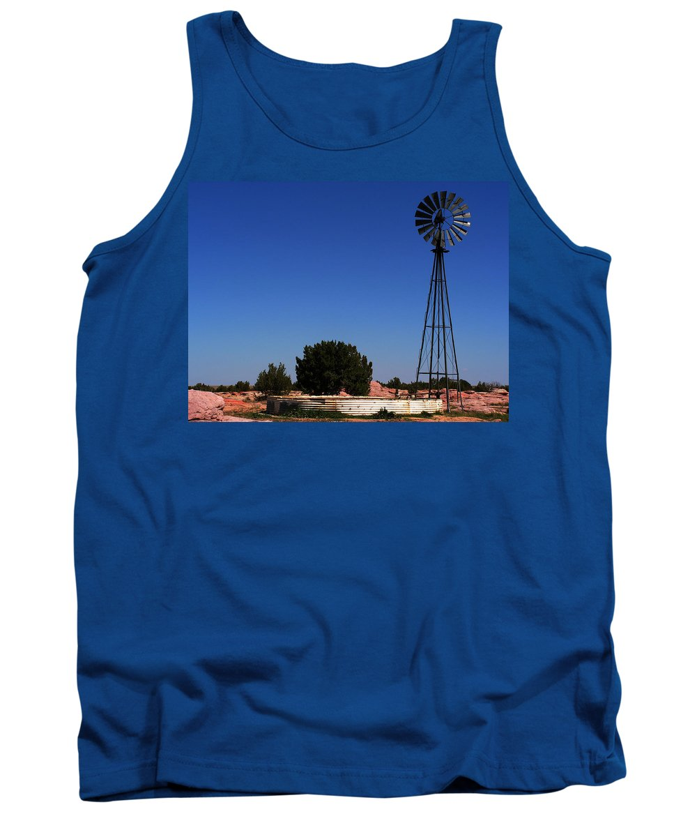Landscape Tank Top featuring the photograph Ranch Windmill by Pam Romjue