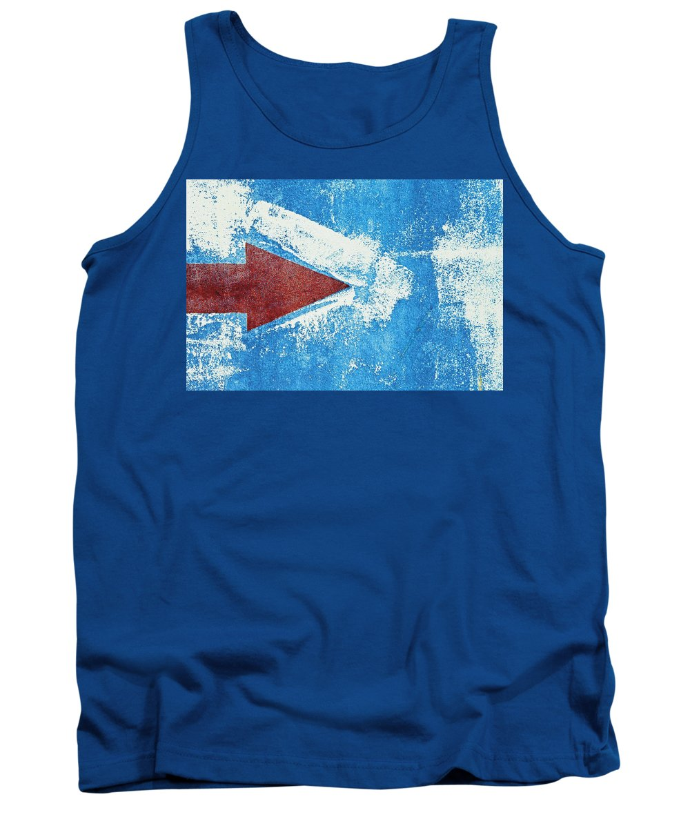 Arrow Tank Top featuring the photograph Red Arrow Painted On Blue Wall by Ken Welsh
